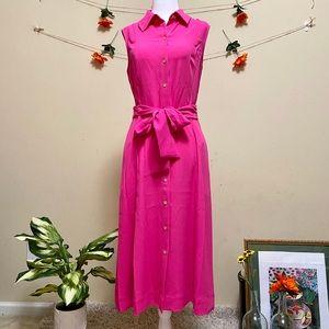Anne Klein Pink Shirt Dress Midi Size 6 & 8